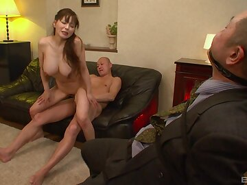 Nice tits Asian babe opens her legs in the air be fucked by lot of dudes