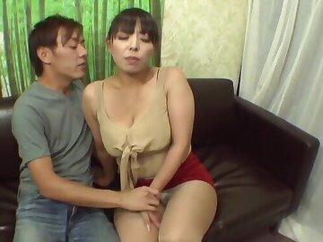 Chunky Japanese chick shows her boobs and sucks a fruitful dick